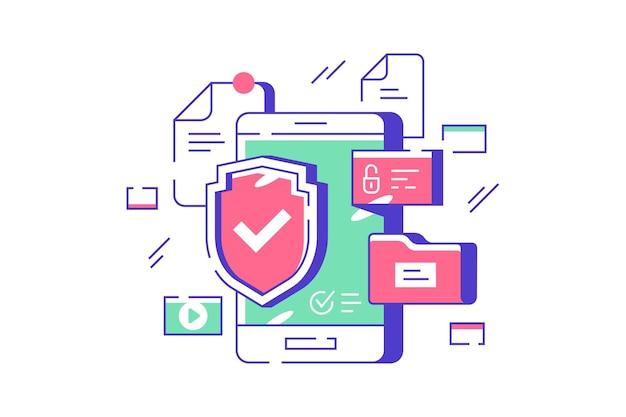 Иллюстрация безопасности данных мобильного телефона. смартфон под защитой плоский стиль. закрытый доступ к личной информации. концепция технологии. изолированные