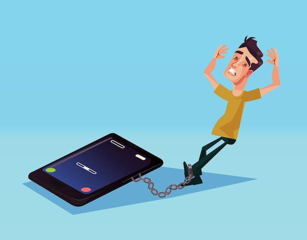 Иллюстрация зависимости от мобильного телефона