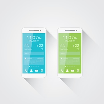 Mobile phone development vector illustration. flat user interface design.