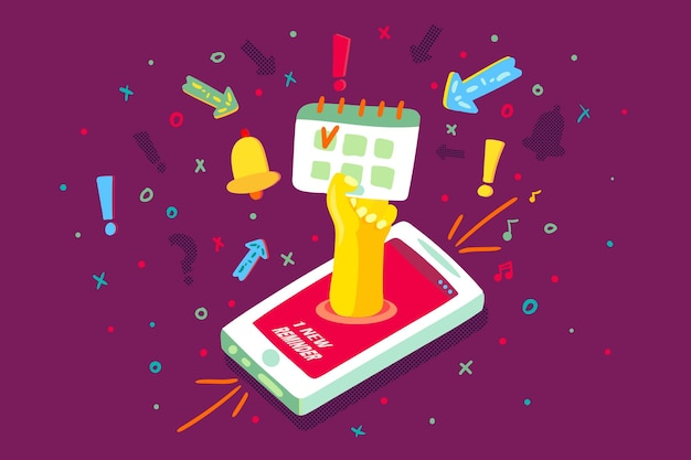 携帯電話デバイスカレンダー通知ベクトル