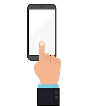 Mobile phone display with hand, finger touch screen, press the touchscreen button, top view. technology icon concept.