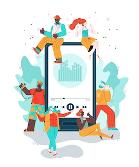 Mobile phone and doodle people listening music illustration isolated.