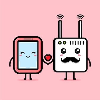 강한 사랑 연결로 인해 휴대 전화가 wi-fi와 사랑에 빠졌습니다.