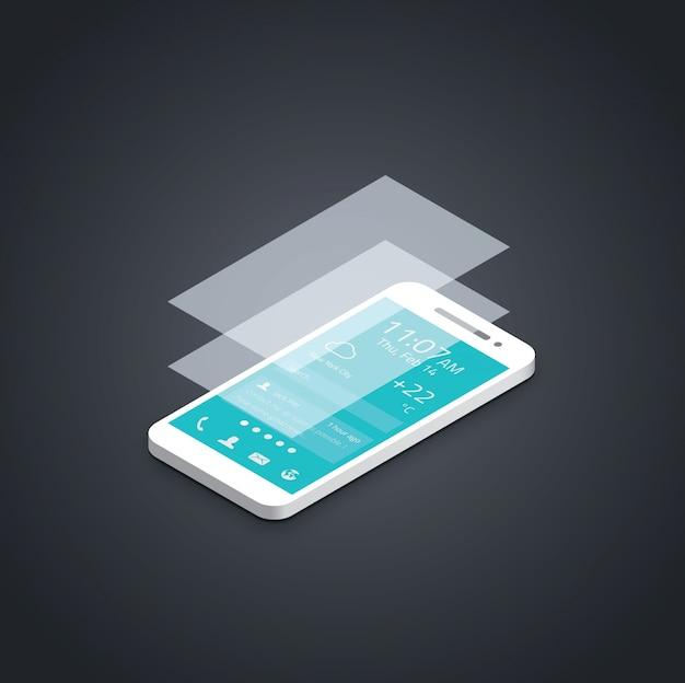 Mobile phone flat user interface development vector illustration.