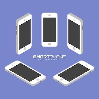 Mobile phone from four sides icon set vector graphic illustration.