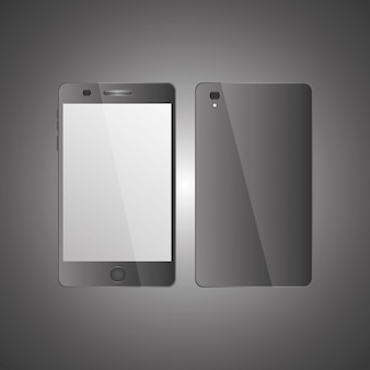 Mobile phone front view and back side with shadows on gray background