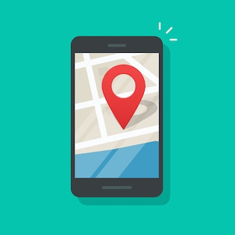 Mobile phone geo location on smartphone gps navigator city map vector flat cartoon