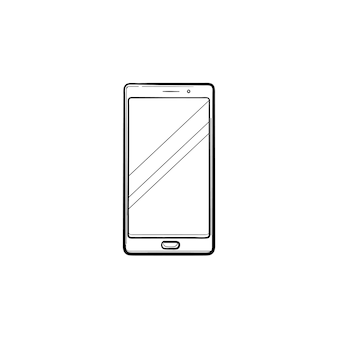 Mobile phone hand drawn outline doodle icon. samrtphone, communication device, gadget and application concept