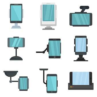 携帯電話ホルダーアイコンを設定します。白い背景で隔離の携帯電話ホルダーベクトルアイコンのフラットセット