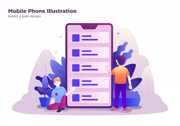 Mobile phone illustration, select a plan design