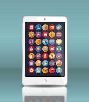 Мобильный телефон в реалистичном стиле с отражением и множеством иконок.