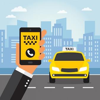 화면에 택시 통화와 손에 휴대 전화