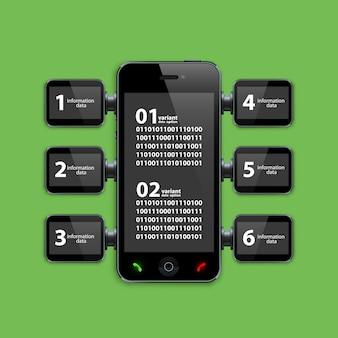 Mobile phone infographics art object. vector illustration