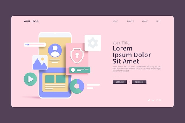 Mobile phone interface 3d concepts landing page