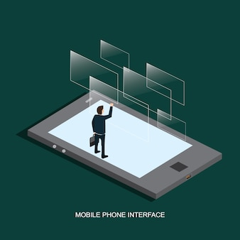 Mobile phone interface isometric concept