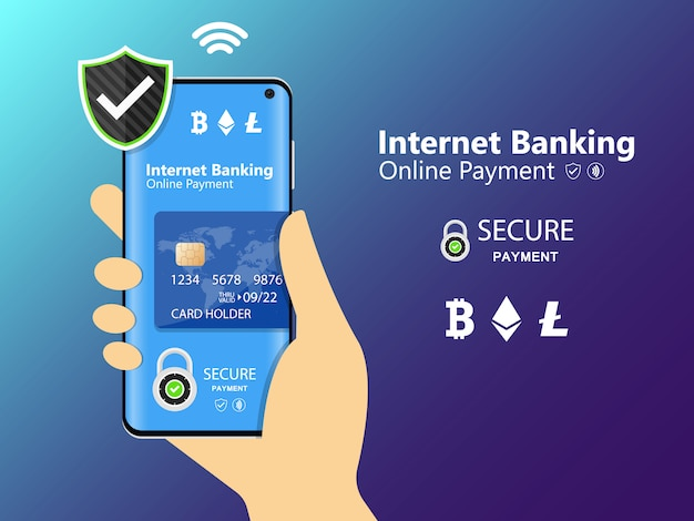 Mobile phone and internet banking. online payment security transaction via credit card. protection shopping wireless pay through smartphone. digital technology transfer pay.
