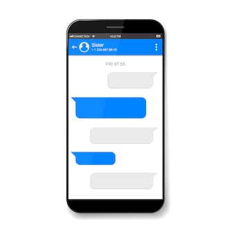 Mobile phone live chat boxes. messenger window.