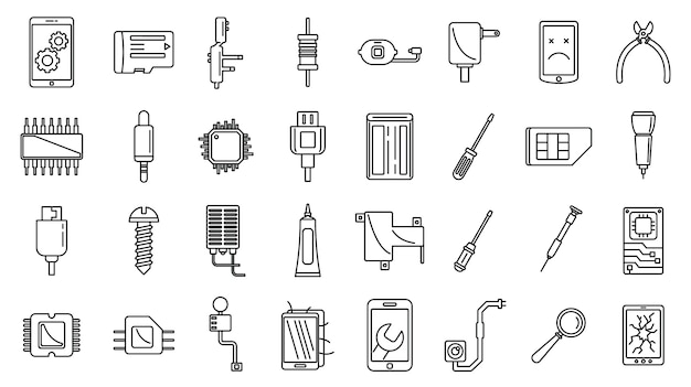 Mobile phone maintenance icons set