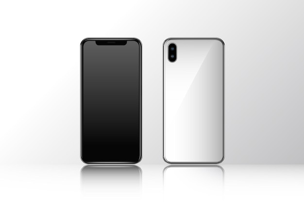 Mobile phone mockup front and rear view