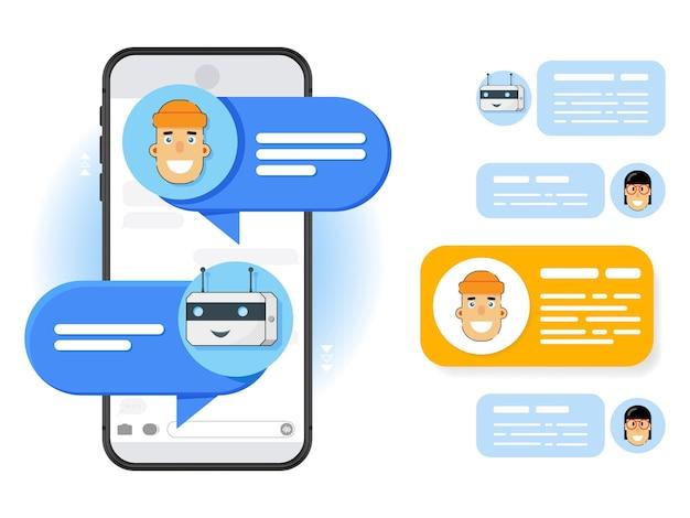 漫画風の白い背景の上の携帯電話。チャットメッセージイラストコンセプト