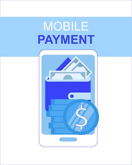 Mobile phone payment app with money wallet screen vector illustration