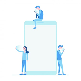 Mobile phone and people set flat illustration