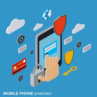 Mobile phone protection flat isometric vector concept