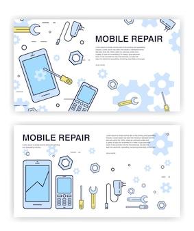 Ремонт мобильных телефонов. баннеры со смартфоном и инструментами. сервисная электронная техника.