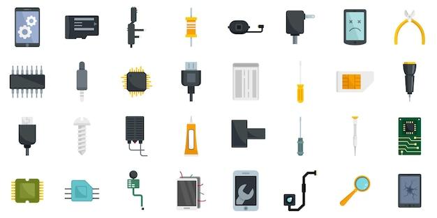 Набор иконок ремонт мобильного телефона. плоский набор мобильных телефонов ремонт векторных иконок, изолированные на белом фоне