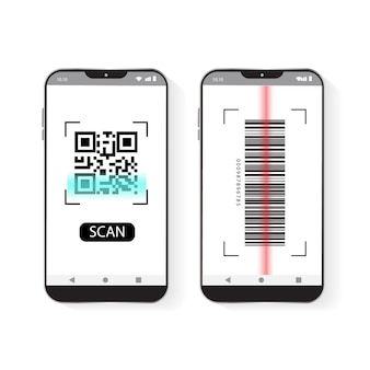 휴대 전화 스캔 qr 코드 및 바코드 벡터 아이콘