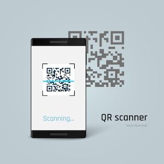 携帯電話はqrコードをスキャンします。