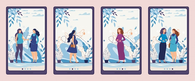 Mobile phone screen pages set with pregnant women