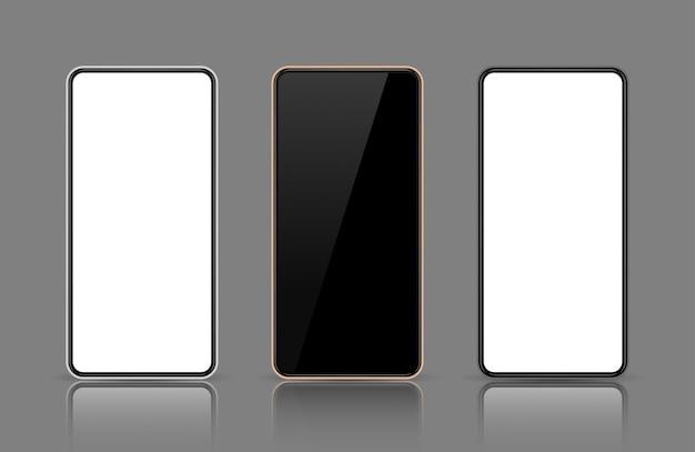 Mobile phone screen, smartphone mock up, display template, black, rose gold, white frame.