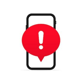 스팸, 보안 연결, 사기, 바이러스에 대한 경고가 있는 휴대폰 화면. 전화 알람 알림 및 새 메시지. 위험 오류 경고, 컴퓨터 바이러스 문제. 벡터, 일러스트레이션