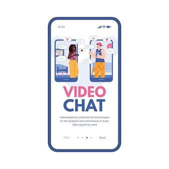 Экран мобильного телефона с приложением для знакомств для молодежи или онлайн-видеочатом
