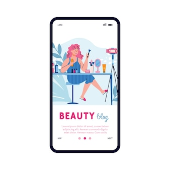 Mobile phone screen with a female beauty blogger a vector flat illustration