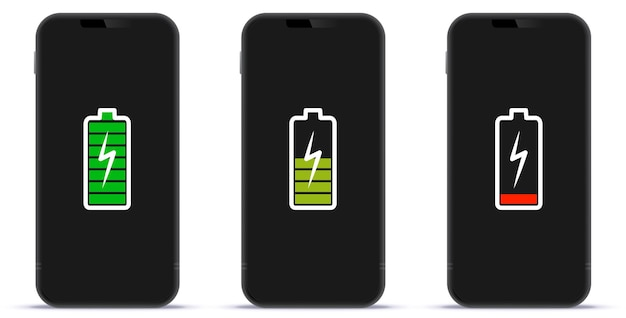 Mobile phone screen with full mid and low battery charge indicator icons vector illustration