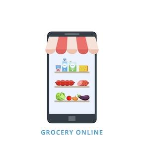 Экран мобильного телефона с продуктовыми полками