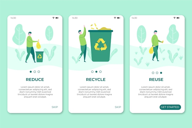 Mobile phone screens with recycle app