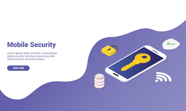 Mobile phone security  isometric for website template or landing homepage banner