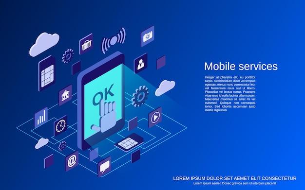 휴대 전화 서비스 평면 3d 아이소 메트릭 개념 그림 프리미엄 벡터