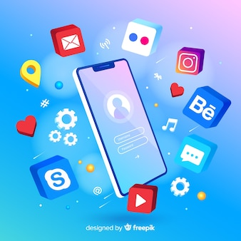 Mobile phone surrounded by colorful app icons
