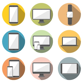 Mobile phone, tablet computer, computer screen, laptop and smart watch flat icon