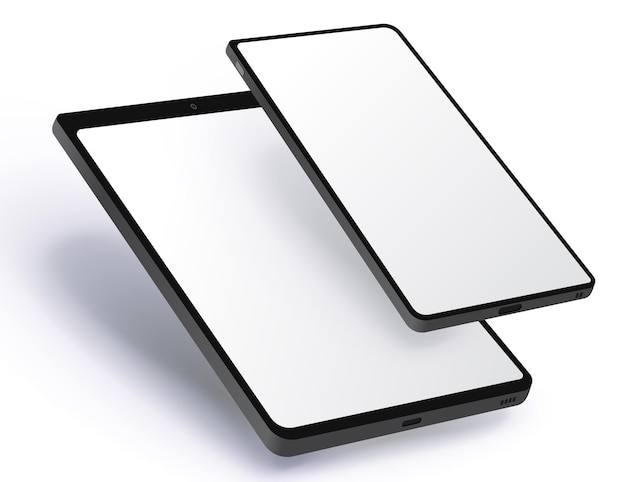 Mobile phone and tablet computer realistic with perspective view