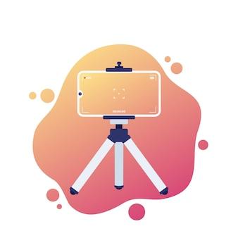 Mobile phone on tripod, vlog recording, vector
