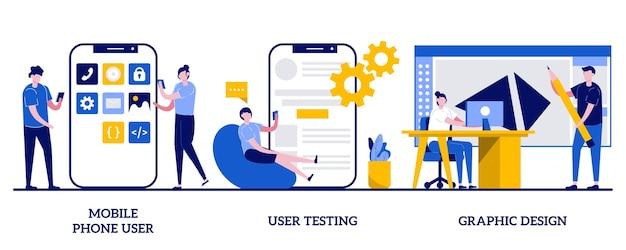 Пользователь мобильного телефона, пользовательское тестирование, концепция графического дизайна с иллюстрацией крошечных людей