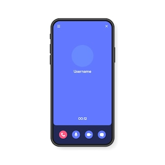 Mobile phone video call screen interface for video chatting, social media and communication. smartphone template.  .