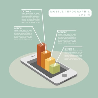Mobile phone with 3d graph infographic