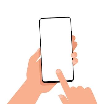 手に空白の画面を持つ携帯電話。モックアップ。 eps 10
