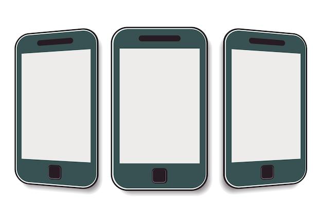 Мобильный телефон с чистым экраном под разными углами. векторная иллюстрация